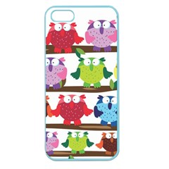 Funny Owls Sitting On A Branch Pattern Postcard Rainbow Apple Seamless iPhone 5 Case (Color)