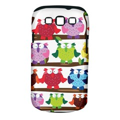 Funny Owls Sitting On A Branch Pattern Postcard Rainbow Samsung Galaxy S III Classic Hardshell Case (PC+Silicone)