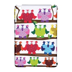 Funny Owls Sitting On A Branch Pattern Postcard Rainbow Apple iPad Mini Hardshell Case (Compatible with Smart Cover)