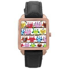 Funny Owls Sitting On A Branch Pattern Postcard Rainbow Rose Gold Leather Watch