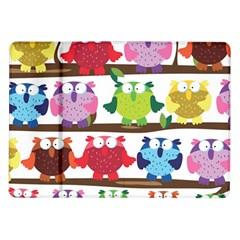 Funny Owls Sitting On A Branch Pattern Postcard Rainbow Samsung Galaxy Tab 10.1  P7500 Flip Case