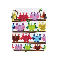 Funny Owls Sitting On A Branch Pattern Postcard Rainbow Apple iPad 2/3/4 Protective Soft Cases