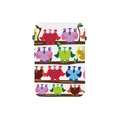 Funny Owls Sitting On A Branch Pattern Postcard Rainbow Apple iPad Mini Protective Soft Cases