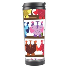 Funny Owls Sitting On A Branch Pattern Postcard Rainbow Travel Tumbler