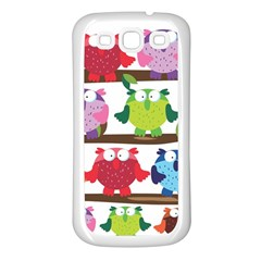 Funny Owls Sitting On A Branch Pattern Postcard Rainbow Samsung Galaxy S3 Back Case (White)