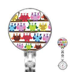 Funny Owls Sitting On A Branch Pattern Postcard Rainbow Stainless Steel Nurses Watch