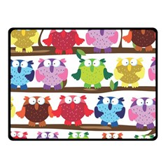 Funny Owls Sitting On A Branch Pattern Postcard Rainbow Double Sided Fleece Blanket (Small)