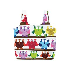 Funny Owls Sitting On A Branch Pattern Postcard Rainbow Full Print Recycle Bags (S)