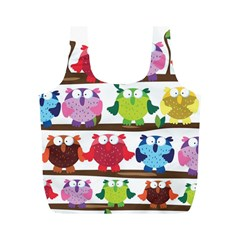 Funny Owls Sitting On A Branch Pattern Postcard Rainbow Full Print Recycle Bags (M)