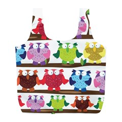 Funny Owls Sitting On A Branch Pattern Postcard Rainbow Full Print Recycle Bags (l)