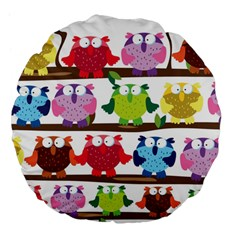 Funny Owls Sitting On A Branch Pattern Postcard Rainbow Large 18  Premium Flano Round Cushions
