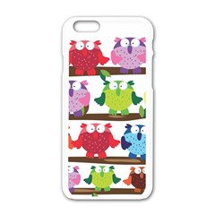 Funny Owls Sitting On A Branch Pattern Postcard Rainbow Apple iPhone 6/6S White Enamel Case
