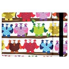 Funny Owls Sitting On A Branch Pattern Postcard Rainbow iPad Air 2 Flip