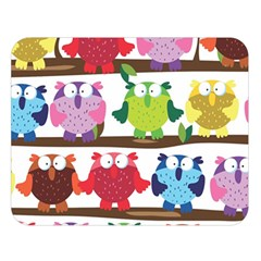 Funny Owls Sitting On A Branch Pattern Postcard Rainbow Double Sided Flano Blanket (Large)