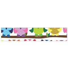 Funny Owls Sitting On A Branch Pattern Postcard Rainbow Flano Scarf (Small)