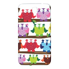 Funny Owls Sitting On A Branch Pattern Postcard Rainbow Samsung Galaxy Mega I9200 Hardshell Back Case