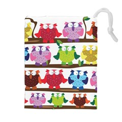 Funny Owls Sitting On A Branch Pattern Postcard Rainbow Drawstring Pouches (Extra Large)