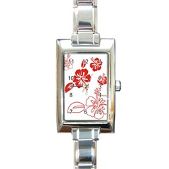 Hawaiian Flower Red Sunflower Rectangle Italian Charm Watch