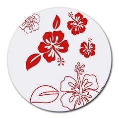 Hawaiian Flower Red Sunflower Round Mousepads