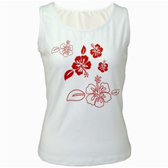 Hawaiian Flower Red Sunflower Women s White Tank Top