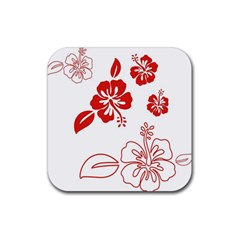 Hawaiian Flower Red Sunflower Rubber Coaster (Square)