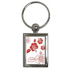 Hawaiian Flower Red Sunflower Key Chains (Rectangle)