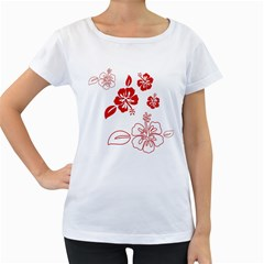 Hawaiian Flower Red Sunflower Women s Loose-Fit T-Shirt (White)