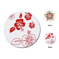 Hawaiian Flower Red Sunflower Playing Cards (Round)