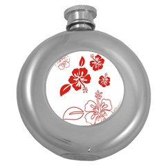 Hawaiian Flower Red Sunflower Round Hip Flask (5 oz)