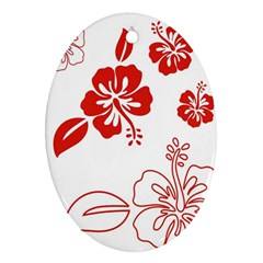 Hawaiian Flower Red Sunflower Oval Ornament (Two Sides)