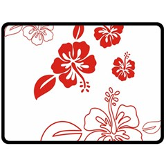 Hawaiian Flower Red Sunflower Fleece Blanket (Large)