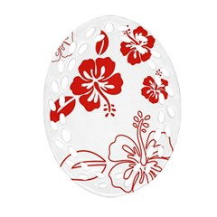 Hawaiian Flower Red Sunflower Oval Filigree Ornament (Two Sides)
