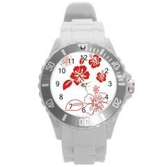 Hawaiian Flower Red Sunflower Round Plastic Sport Watch (L)