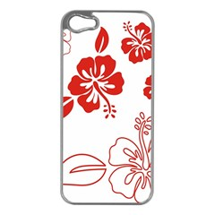 Hawaiian Flower Red Sunflower Apple iPhone 5 Case (Silver)