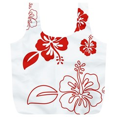 Hawaiian Flower Red Sunflower Full Print Recycle Bags (L)