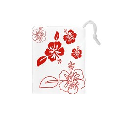 Hawaiian Flower Red Sunflower Drawstring Pouches (Small)