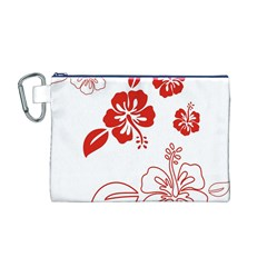 Hawaiian Flower Red Sunflower Canvas Cosmetic Bag (M)