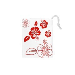 Hawaiian Flower Red Sunflower Drawstring Pouches (XS)