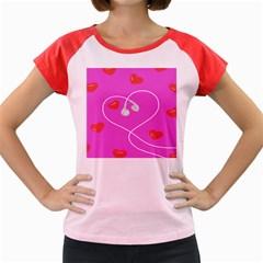 Heart Love Pink Red Women s Cap Sleeve T Shirt