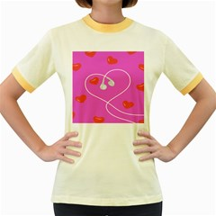 Heart Love Pink Red Women s Fitted Ringer T-Shirts