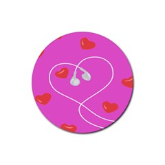 Heart Love Pink Red Rubber Round Coaster (4 Pack)