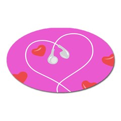 Heart Love Pink Red Oval Magnet