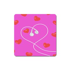 Heart Love Pink Red Square Magnet