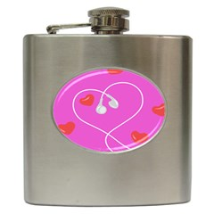 Heart Love Pink Red Hip Flask (6 oz)