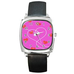 Heart Love Pink Red Square Metal Watch
