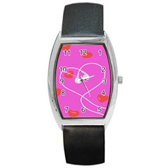 Heart Love Pink Red Barrel Style Metal Watch