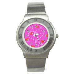 Heart Love Pink Red Stainless Steel Watch