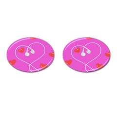 Heart Love Pink Red Cufflinks (Oval)