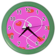 Heart Love Pink Red Color Wall Clocks