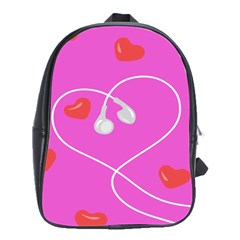 Heart Love Pink Red School Bags(large)